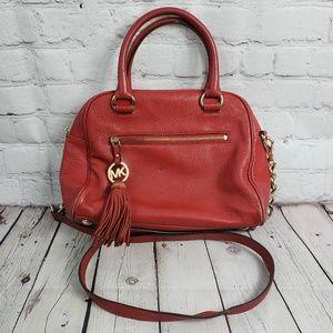 Michael Kors Leather Handbag Purse Coral Red Bag